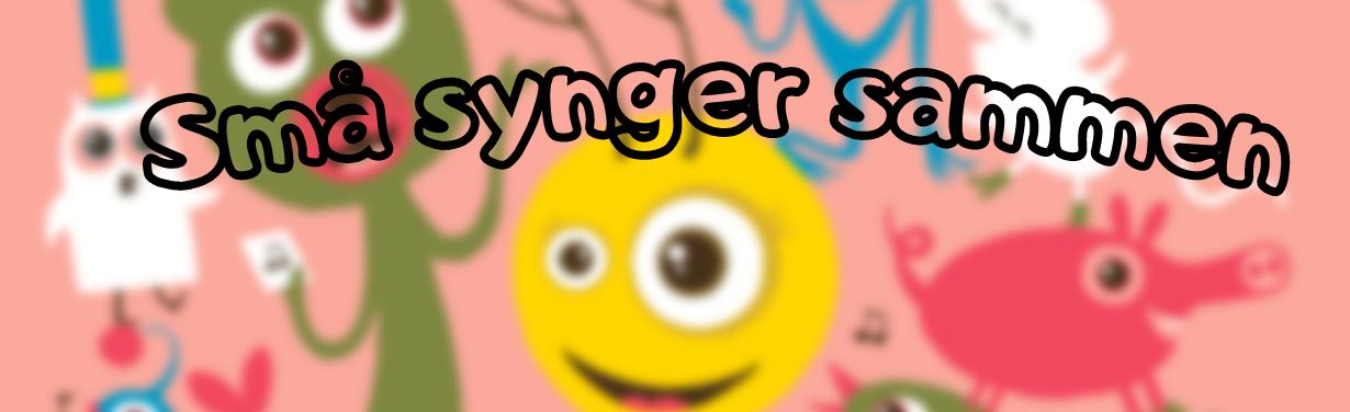 """Billedet viser en illustration af en smily og nogle dyr som holder fest. Tekst på billedet """"Små synger sammen""""."""