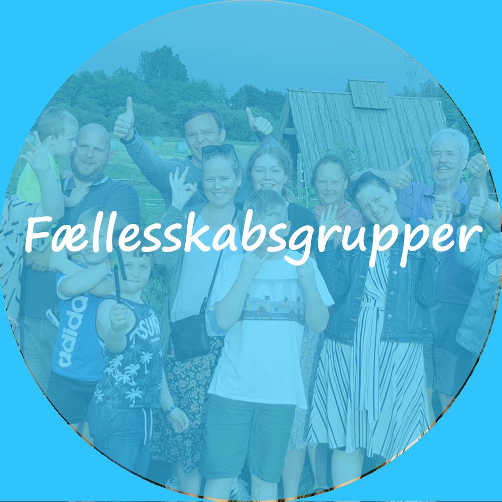 """Billedet viser en gruppe mennesker i forskellige aldre. oven på billedet ligger et blåt filter. På billedet står der """"Fællesskabsgrupper"""". Billedet indeholder et link som omdirigerer til oversigten over fællesskabsgrupper."""
