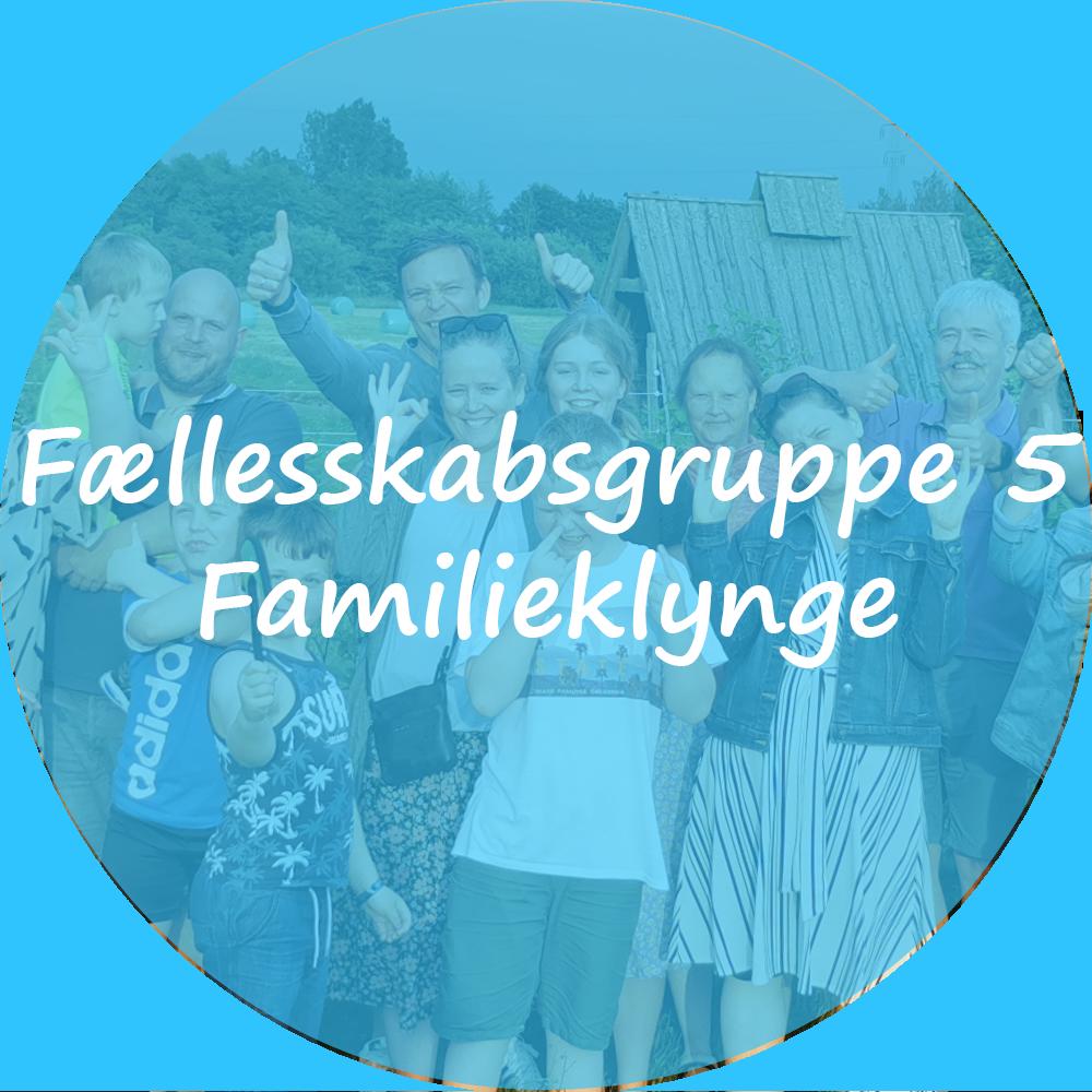 """Billedet viser 4 familier opstillet til billede. Oven på billedet ligger et blåt filter. Tekst på billedet """"Fællesskabsgruppe 5 - Familieklynge"""". Billedet indeholder et link som scroller ned til beskrivelsen af gruppen."""